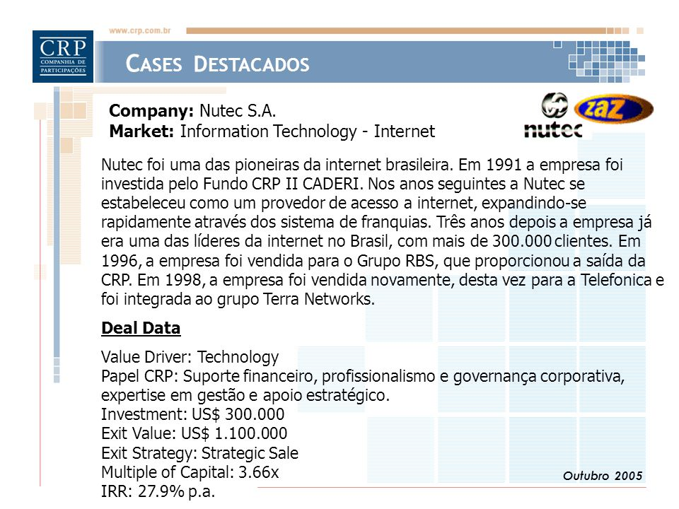Outubro 2005 C ASES D ESTACADOS Company: Nutec S.A. Market: Information Technology - Internet Nutec foi uma das pioneiras da internet brasileira. Em 1
