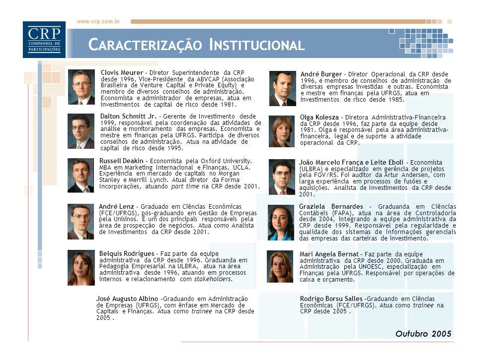 Outubro 2005 C ARACTERIZAÇÃO I NSTITUCIONAL Clovis Meurer – Diretor Superintendente da CRP desde 1996, Vice-Presidente da ABVCAP (Associação Brasileira de Venture Capital e Private Equity) e membro de diversos conselhos de administração.