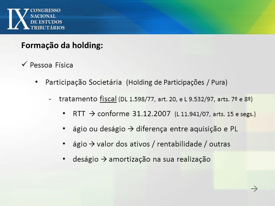 Formação da holding: Pessoa Física Participação Societária - Reflexos da conferência do Investimento: reserva de lucro (antiga)  não se distribui da holding resultados de exercícios vindouros  MEP dividendos  isentos (L 9.249/95, art.