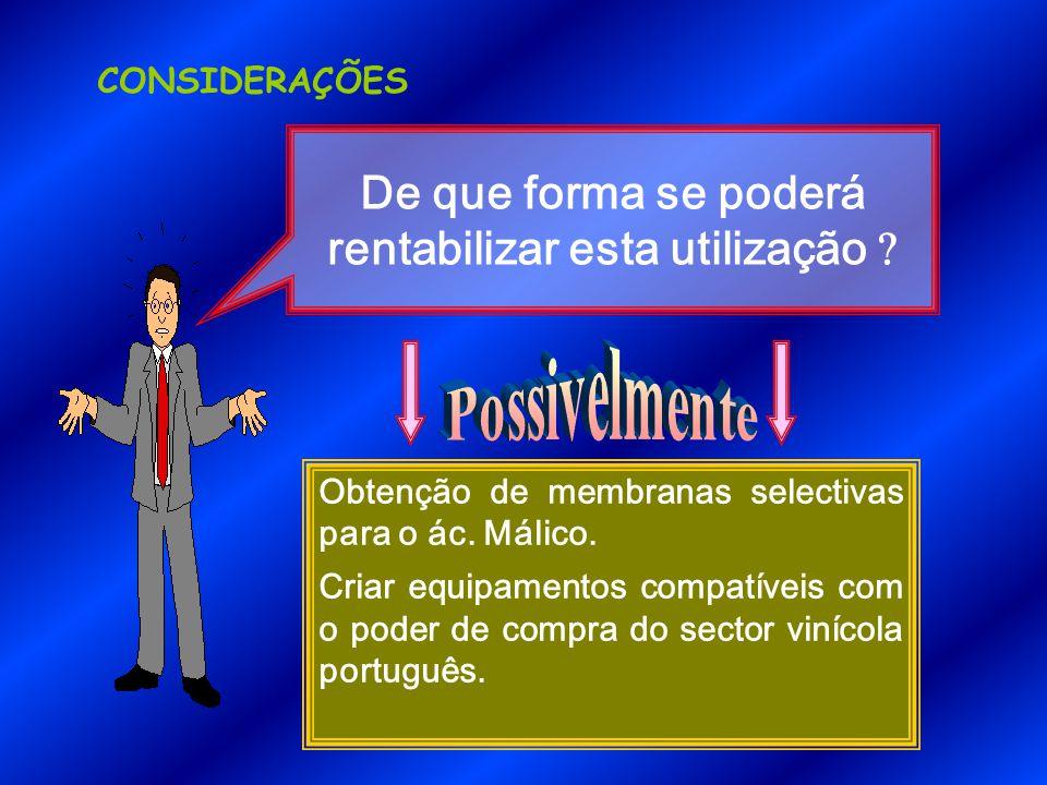 CONSIDERAÇÕES Obtenção de membranas selectivas para o ác.