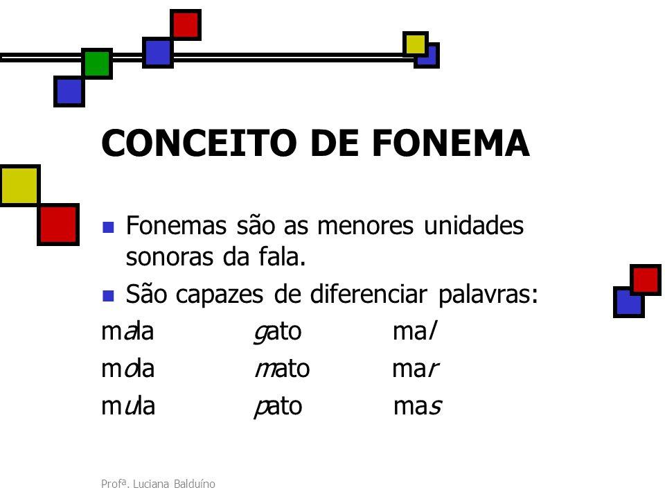 Profª. Luciana Balduíno CONCEITO DE FONEMA Fonemas são as menores unidades sonoras da fala. São capazes de diferenciar palavras: mala gato mal mola ma