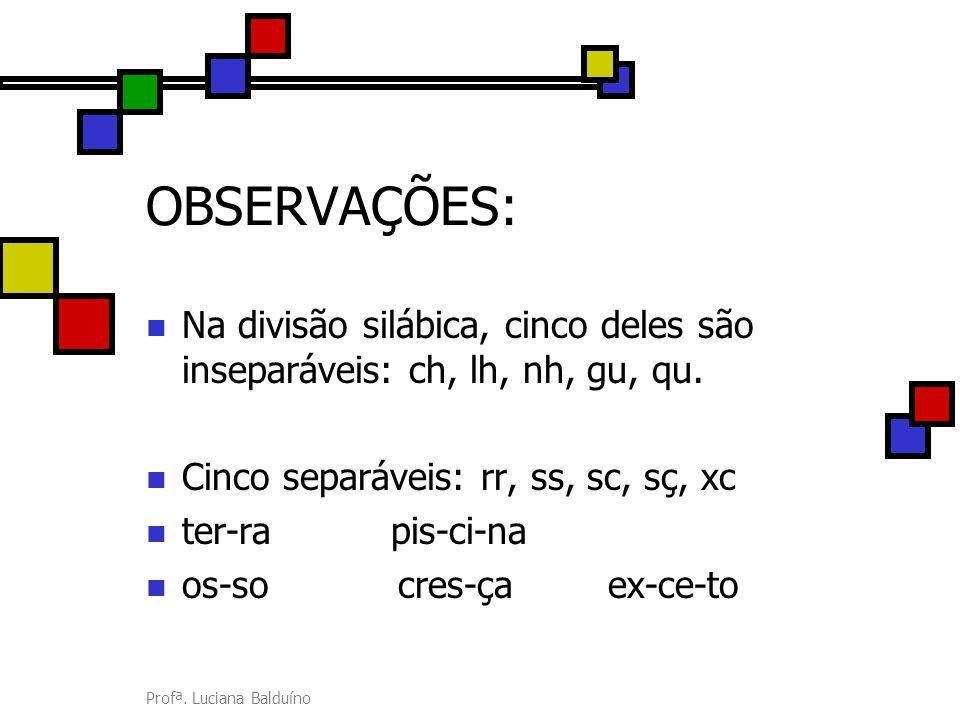 Profª. Luciana Balduíno OBSERVAÇÕES: Na divisão silábica, cinco deles são inseparáveis: ch, lh, nh, gu, qu. Cinco separáveis: rr, ss, sc, sç, xc ter-r