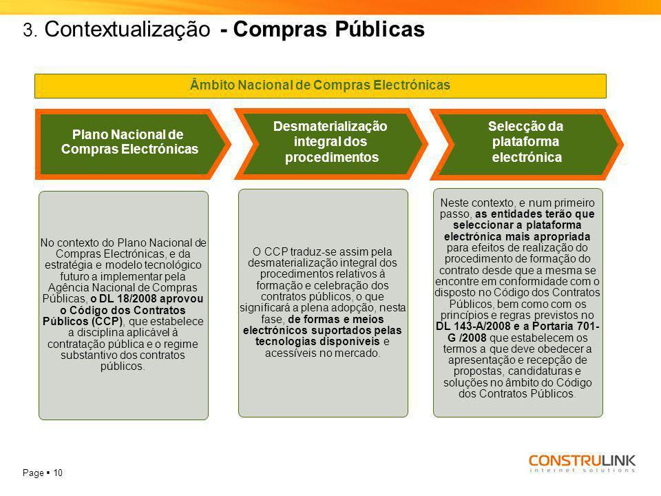 Page  10 3. Contextualização - Compras Públicas Plano Nacional de Compras Electrónicas Desmaterialização integral dos procedimentos Selecção da plata