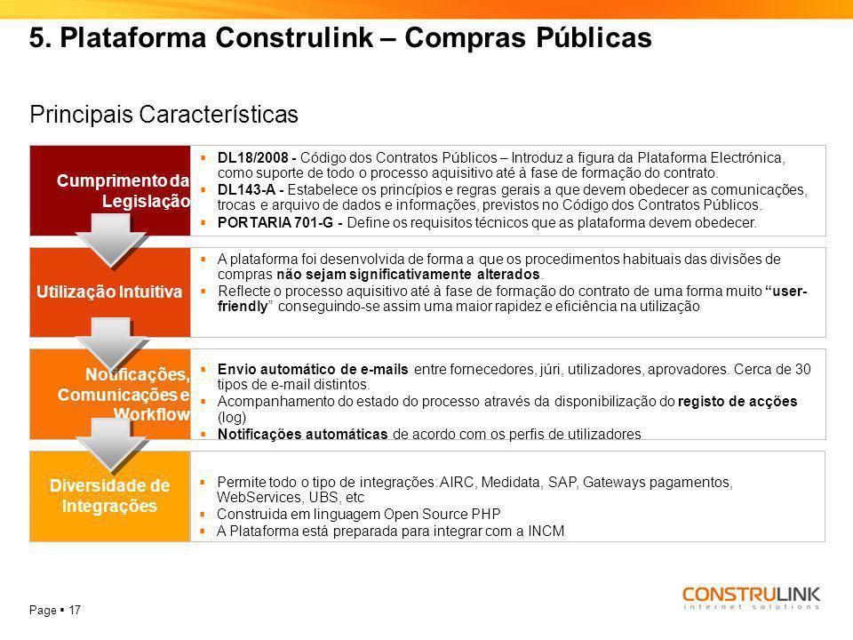 Page  17 5. Plataforma Construlink – Compras Públicas Cumprimento da Legislação  DL18/2008 - Código dos Contratos Públicos – Introduz a figura da Pl