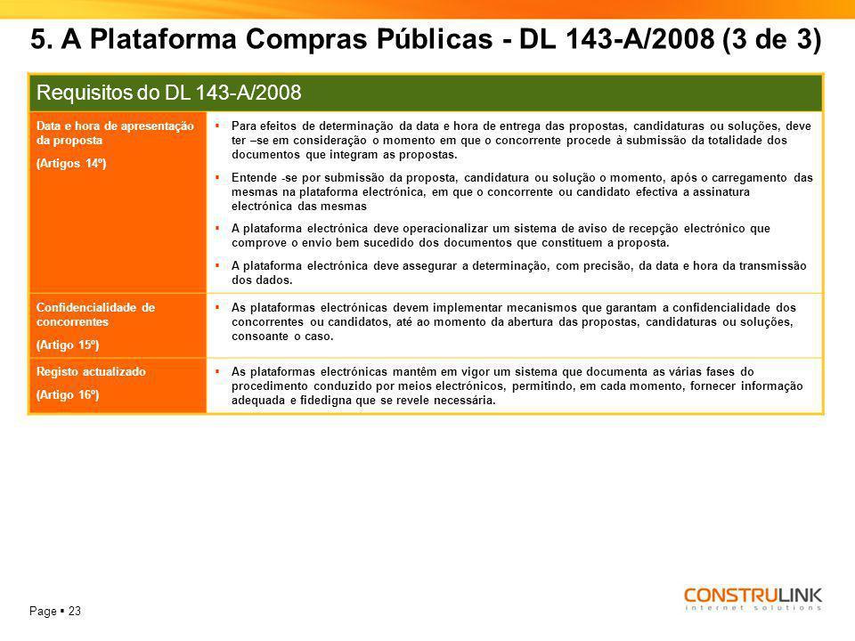 Page  23 Requisitos do DL 143-A/2008 Data e hora de apresentação da proposta (Artigos 14º)  Para efeitos de determinação da data e hora de entrega d