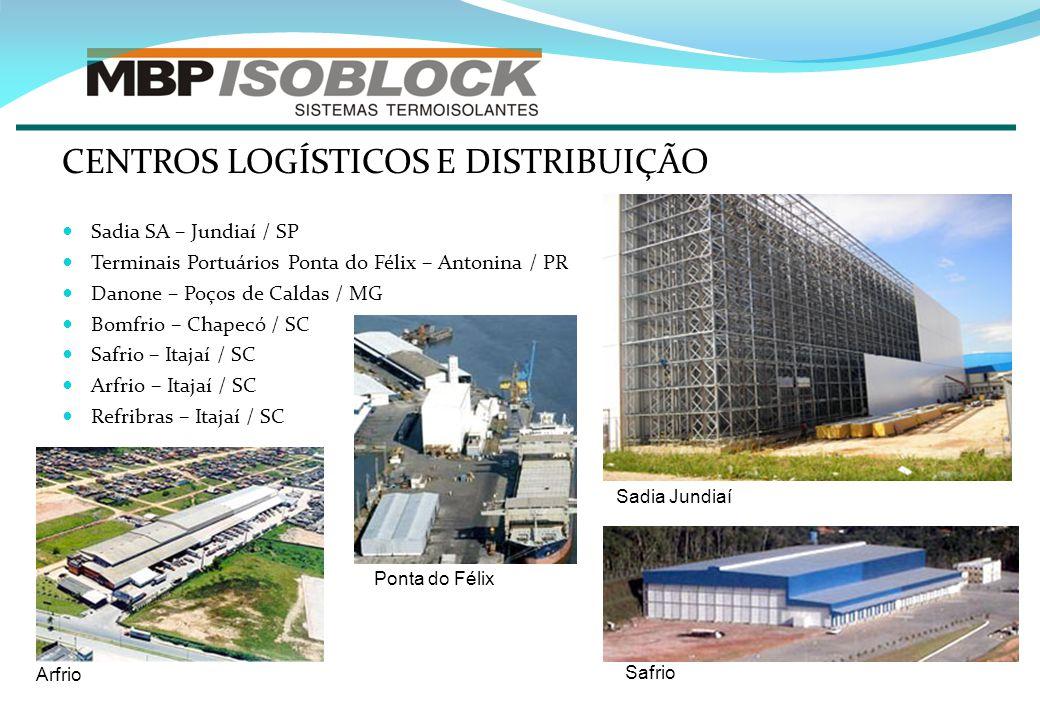 CENTROS LOGÍSTICOS E DISTRIBUIÇÃO Sadia SA – Jundiaí / SP Terminais Portuários Ponta do Félix – Antonina / PR Danone – Poços de Caldas / MG Bomfrio –