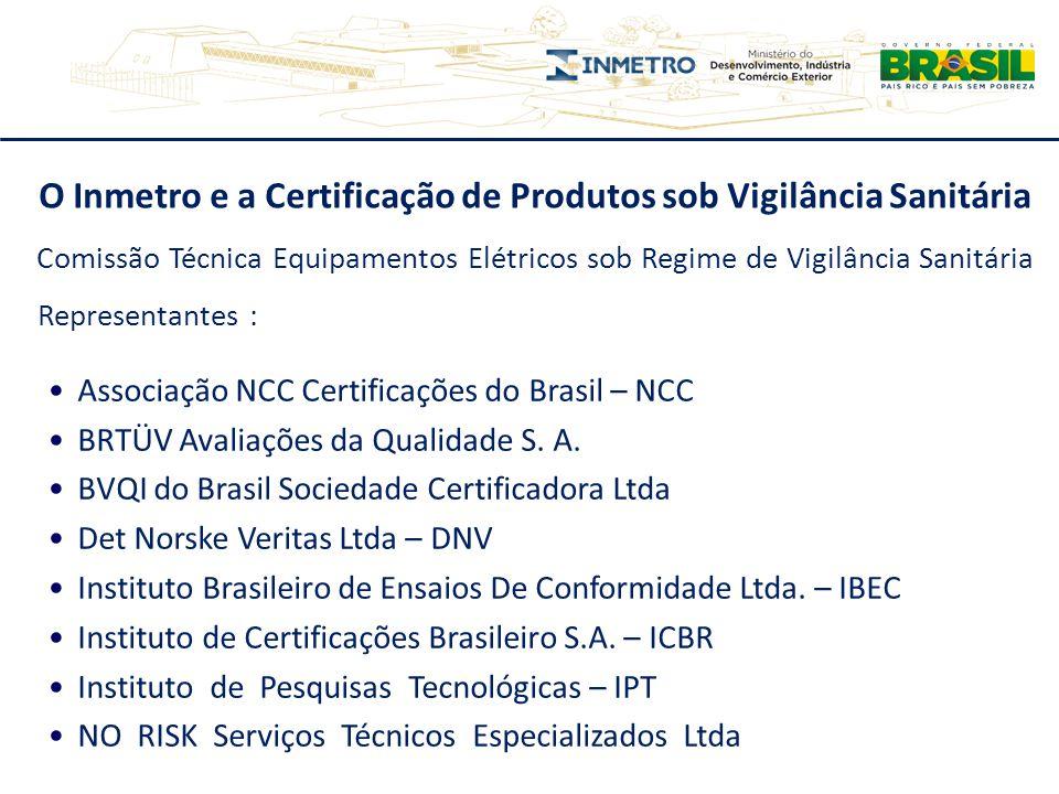 O Inmetro e a Certificação de Produtos sob Vigilância Sanitária Associação NCC Certificações do Brasil – NCC BRTÜV Avaliações da Qualidade S. A. BVQI