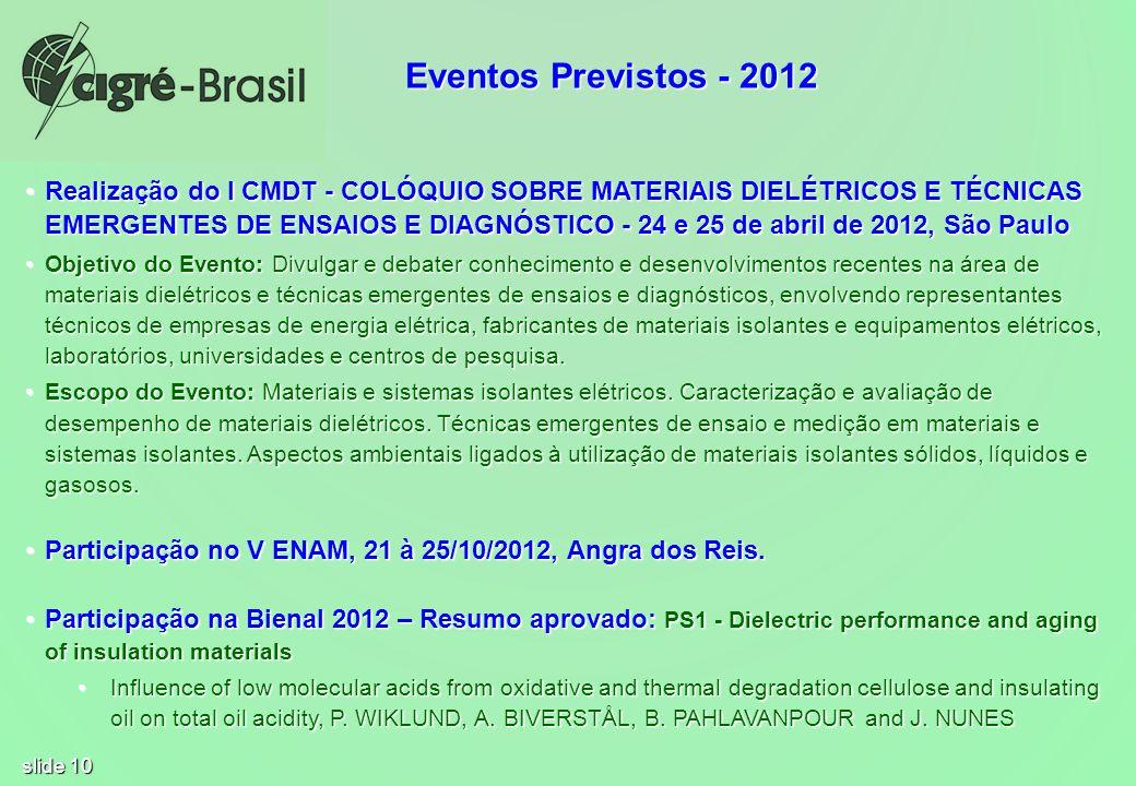 slide 10 Realização do I CMDT - COLÓQUIO SOBRE MATERIAIS DIELÉTRICOS E TÉCNICAS EMERGENTES DE ENSAIOS E DIAGNÓSTICO - 24 e 25 de abril de 2012, São Pa