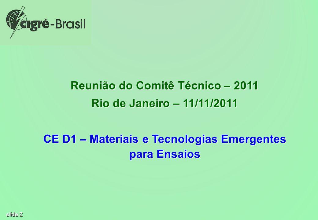 slide 2 Reunião do Comitê Técnico – 2011 Rio de Janeiro – 11/11/2011 CE D1 – Materiais e Tecnologias Emergentes para Ensaios