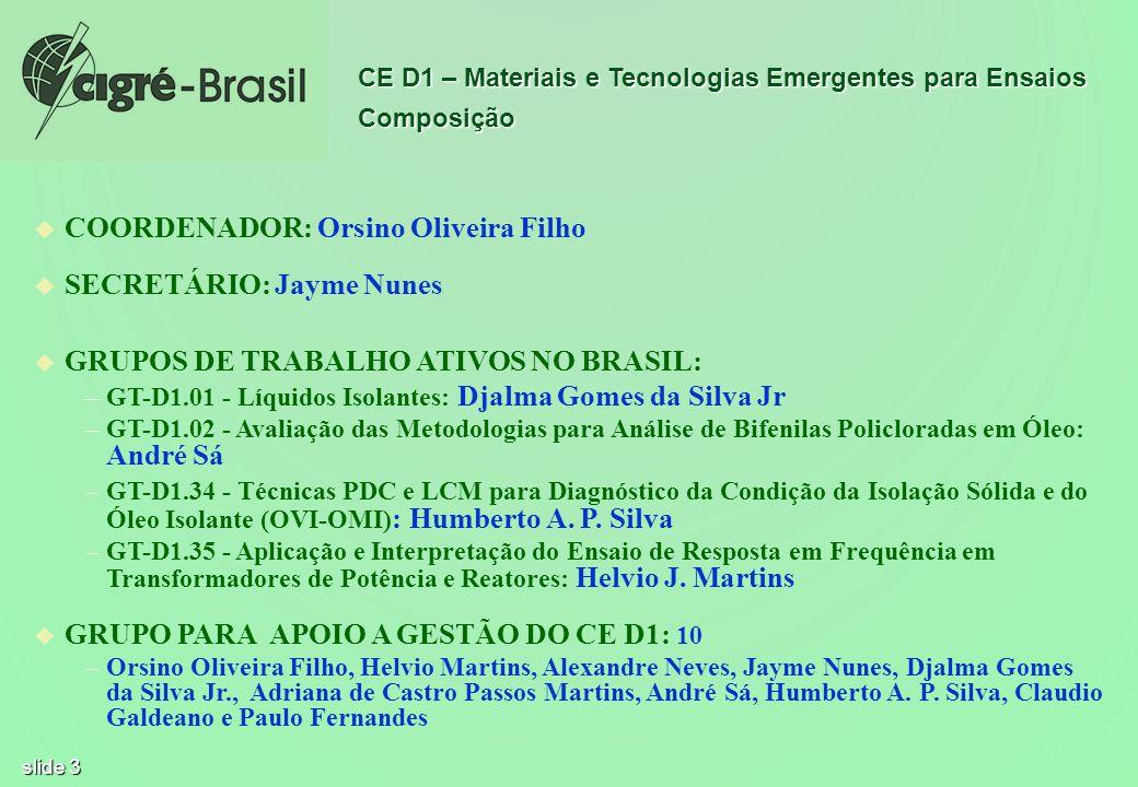 slide 3 u u COORDENADOR: Orsino Oliveira Filho u u SECRETÁRIO: Jayme Nunes u u GRUPOS DE TRABALHO ATIVOS NO BRASIL: – –GT-D1.01 - Líquidos Isolantes: Djalma Gomes da Silva Jr – –GT-D1.02 - Avaliação das Metodologias para Análise de Bifenilas Policloradas em Óleo: André Sá – –GT-D1.34 - Técnicas PDC e LCM para Diagnóstico da Condição da Isolação Sólida e do Óleo Isolante (OVI-OMI) : Humberto A.
