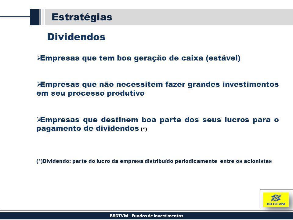 BBDTVM - Fundos de Investimentos Estratégias Dividendos  Empresas que tem boa geração de caixa (estável)  Empresas que não necessitem fazer grandes