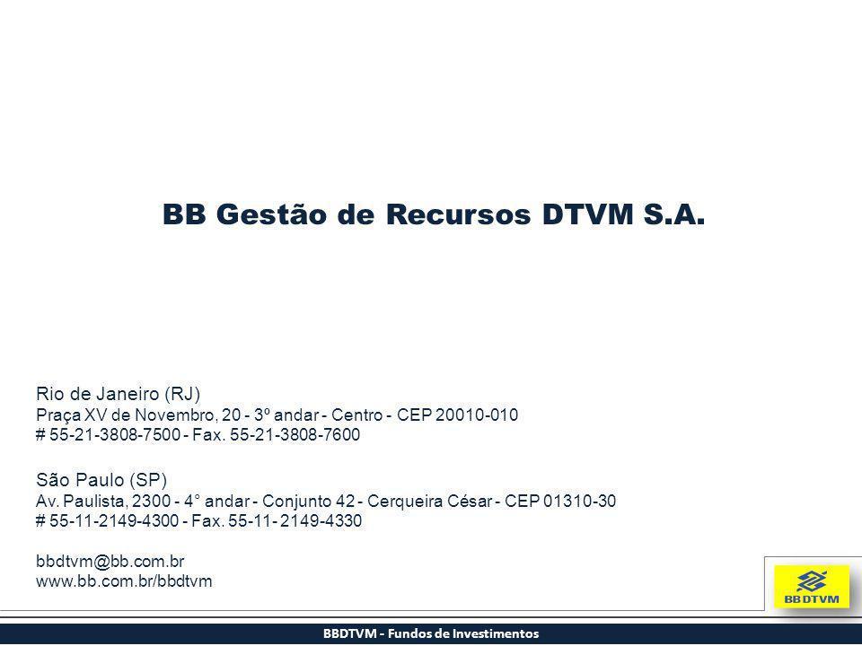 BBDTVM - Fundos de Investimentos Rio de Janeiro (RJ) Praça XV de Novembro, 20 - 3º andar - Centro - CEP 20010-010 # 55-21-3808-7500 - Fax. 55-21-3808-