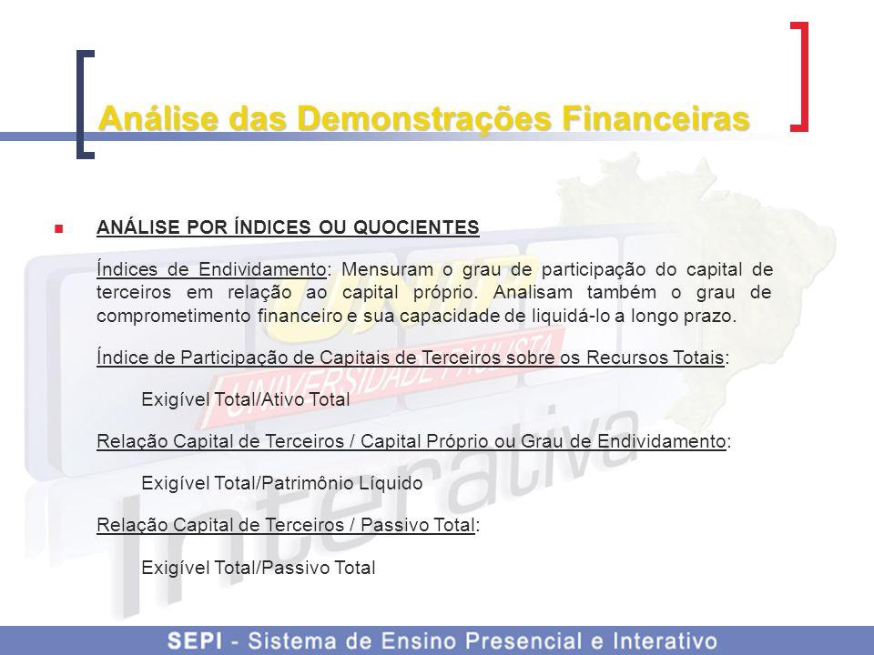 Análise das Demonstrações Financeiras ANÁLISE POR ÍNDICES OU QUOCIENTES Índices de Endividamento: Mensuram o grau de participação do capital de tercei