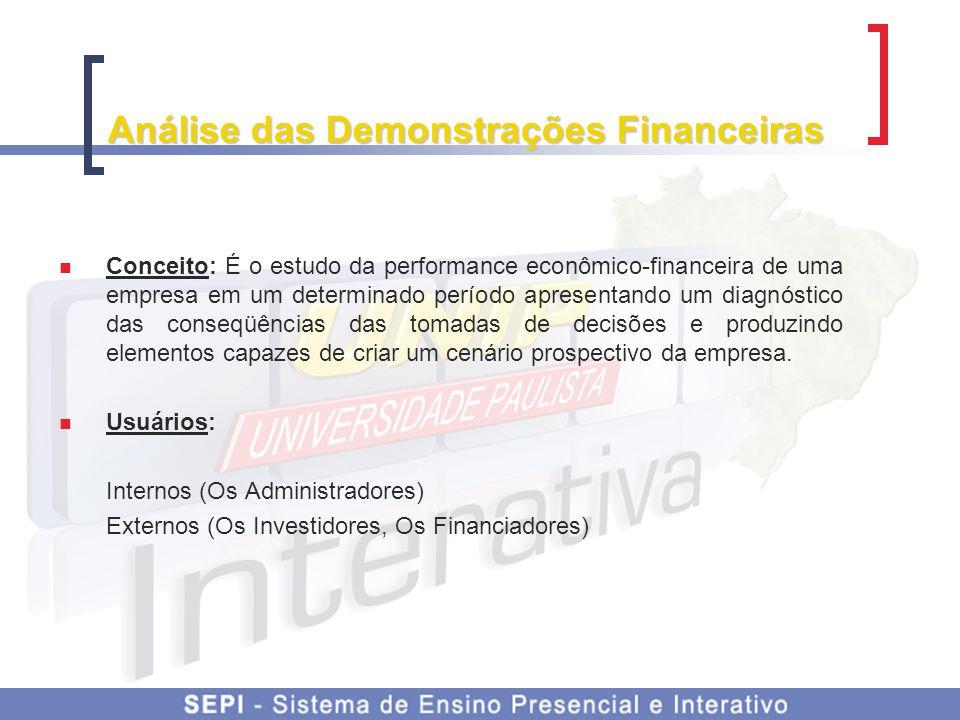 Análise das Demonstrações Financeiras Conceito: É o estudo da performance econômico-financeira de uma empresa em um determinado período apresentando u
