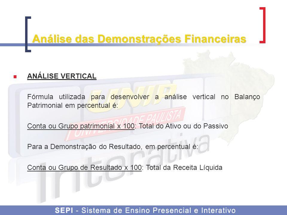 Análise das Demonstrações Financeiras ANÁLISE VERTICAL Fórmula utilizada para desenvolver a análise vertical no Balanço Patrimonial em percentual é: C