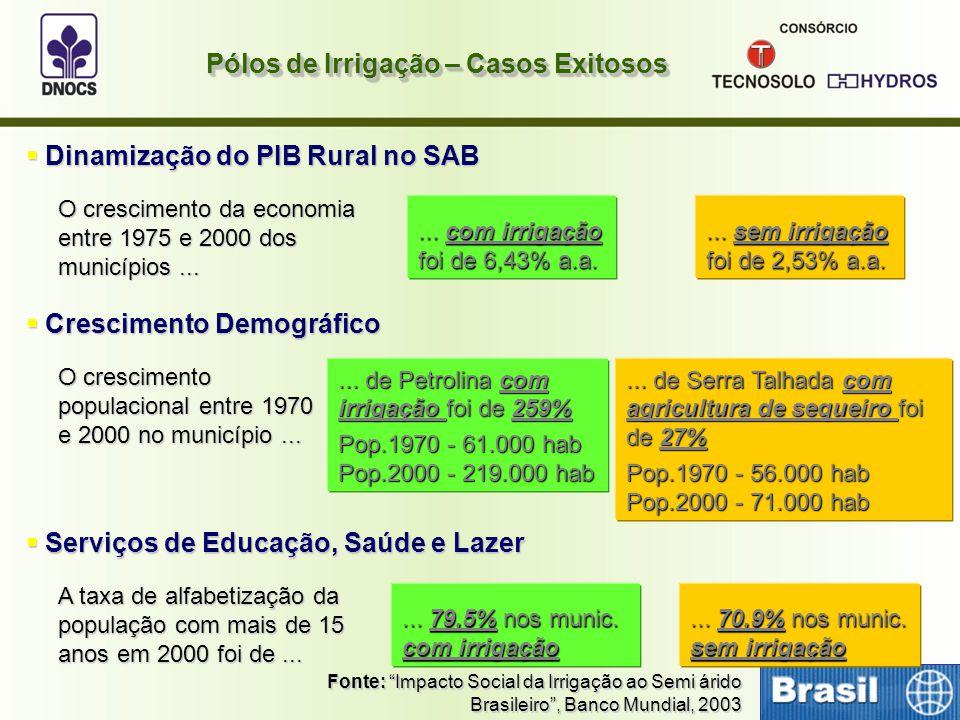 """Pólos de Irrigação – Casos Exitosos Fonte: """"Impacto Social da Irrigação ao Semi árido Brasileiro"""", Banco Mundial, 2003  Dinamização do PIB Rural no S"""