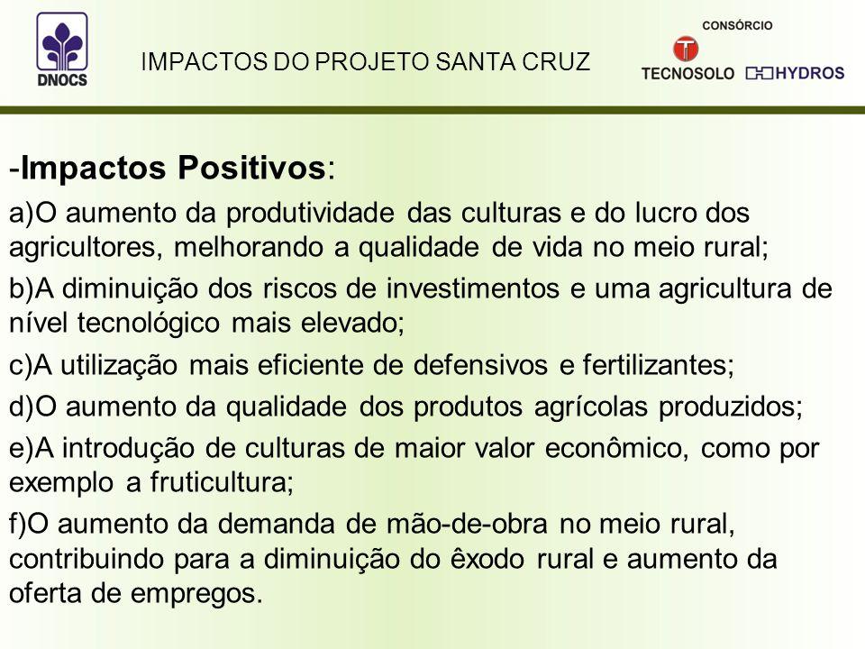 IMPACTOS DO PROJETO SANTA CRUZ -Impactos Positivos: a)O aumento da produtividade das culturas e do lucro dos agricultores, melhorando a qualidade de v