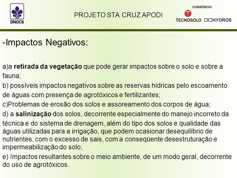 PROJETO STA CRUZ APODI -Impactos Negativos: a)a retirada da vegetação que pode gerar impactos sobre o solo e sobre a fauna; b) possíveis impactos nega