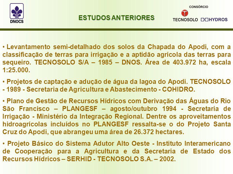 Levantamento semi-detalhado dos solos da Chapada do Apodi, com a classificação de terras para irrigação e a aptidão agrícola das terras para sequeiro.
