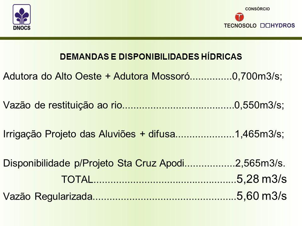 QUALIDADE DA ÁGUA Conforme estudos ambientais recentes (2010), realizados para obtenção da Licença Ambiental do Projeto Sta Cruz do Apodi, os resultados da análise da água do Rio Apodi foram os seguintes: - pH entre 7,55 e 8,86.