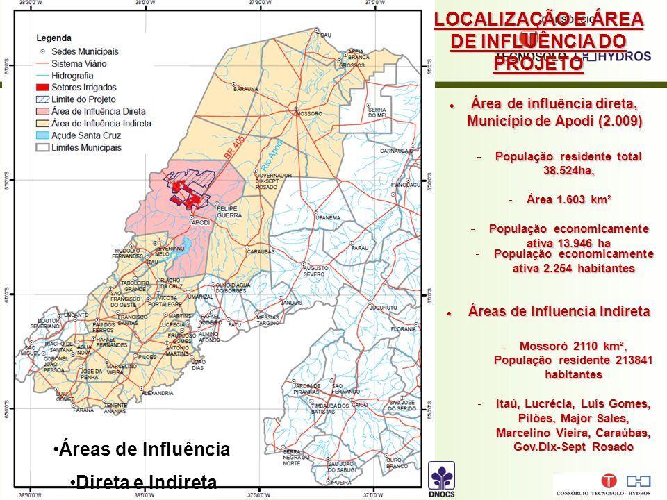 Área de influência direta, Município de Apodi (2.009) Área de influência direta, Município de Apodi (2.009)  População residente total 38.524ha,  Área 1.603 km²  População economicamente ativa 13.946 ha Áreas de Influência Direta e Indireta LOCALIZAÇÃO E ÁREA DE INFLUÊNCIA DO PROJETO Áreas de Influencia Indireta Áreas de Influencia Indireta  Mossoró 2110 km², População residente 213841 habitantes  Itaú, Lucrécia, Luís Gomes, Pilões, Major Sales, Marcelino Vieira, Caraúbas, Gov.Dix-Sept Rosado  População economicamente ativa 2.254 habitantes