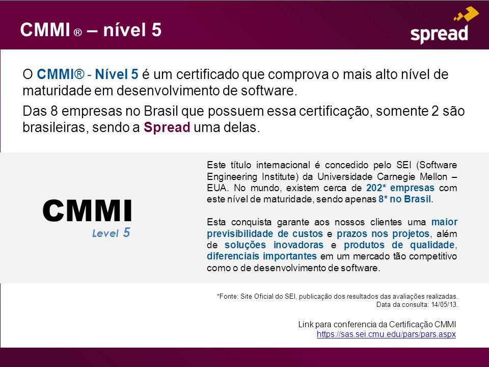 O CMMI® - Nível 5 é um certificado que comprova o mais alto nível de maturidade em desenvolvimento de software. Das 8 empresas no Brasil que possuem e
