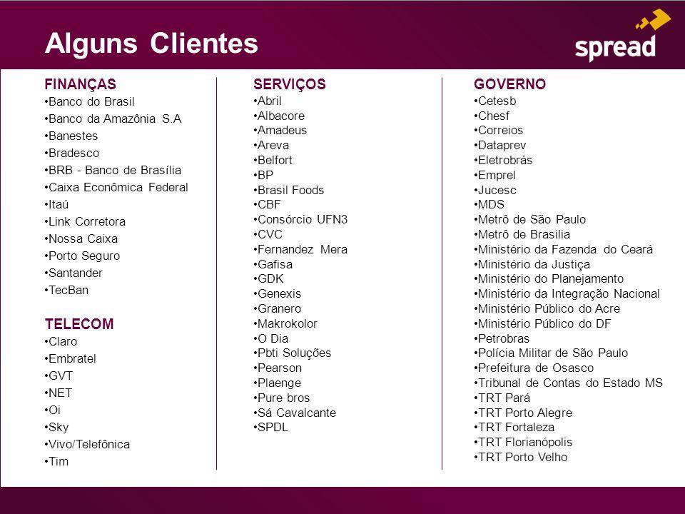 Alguns Clientes FINANÇAS Banco do Brasil Banco da Amazônia S.A Banestes Bradesco BRB - Banco de Brasília Caixa Econômica Federal Itaú Link Corretora N