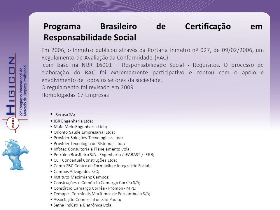Em 2006, o Inmetro publicou através da Portaria Inmetro nº 027, de 09/02/2006, um Regulamento de Avaliação da Conformidade (RAC) com base na NBR 16001