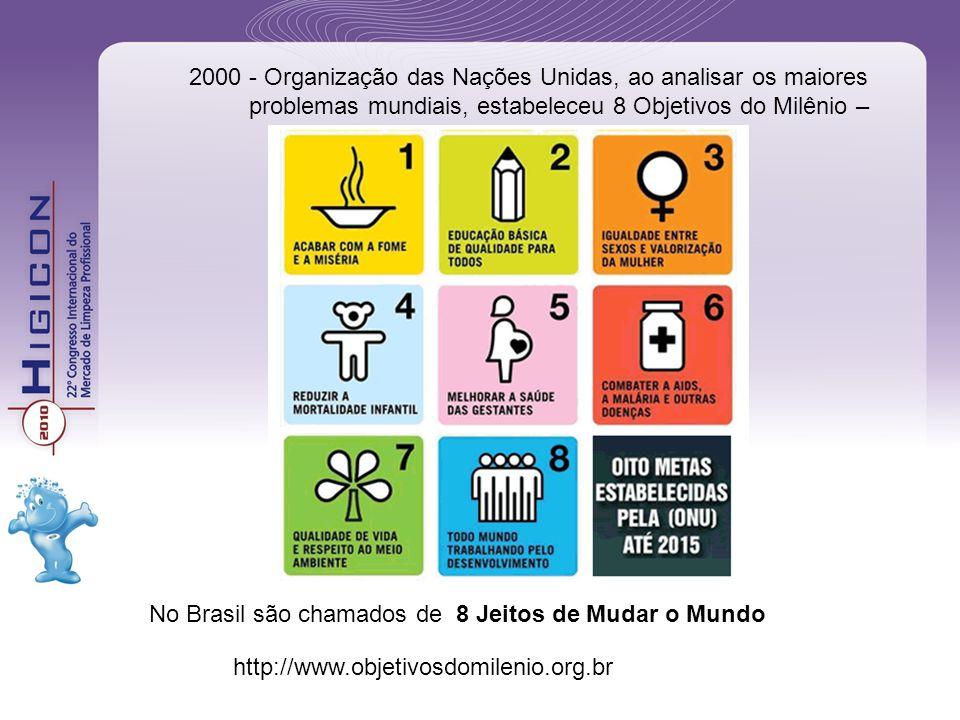 No Brasil são chamados de 8 Jeitos de Mudar o Mundo 2000 - Organização das Nações Unidas, ao analisar os maiores problemas mundiais, estabeleceu 8 Obj