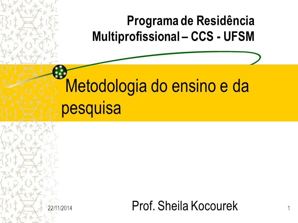 22/11/20141 Metodologia do ensino e da pesquisa Prof.