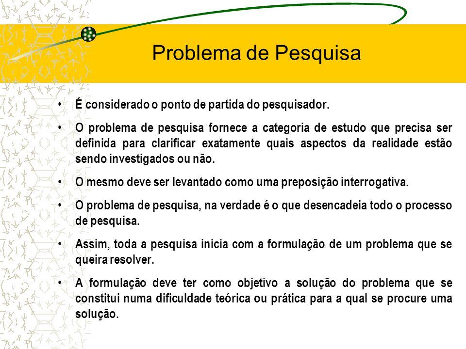 2. Elaboração do Projeto Problema de Pesquisa –O problema de pesquisa deve ser claramente formulado, pois ele serve de guia na busca de informações qu