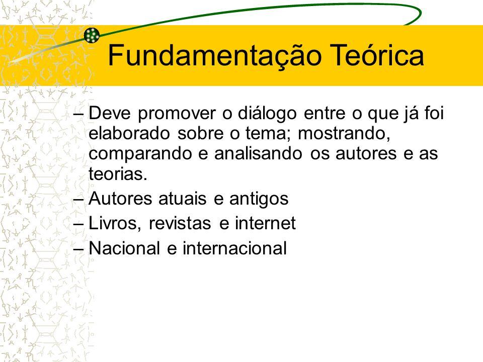 2. Elaboração do Projeto  Fundamentação Teórica –Identifica o referencial que irá dar sustentação as idéias desenvolvidas no projeto –Deve abordar as