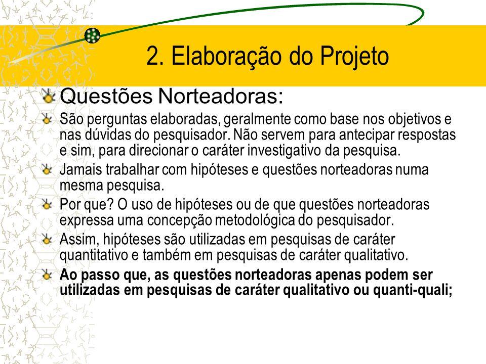 2. Elaboração do Projeto Hipóteses – Pesquisa quantitativa –Propõe explicações provisórias para certos fatos, com o apoio da teoria –Suposição que ant