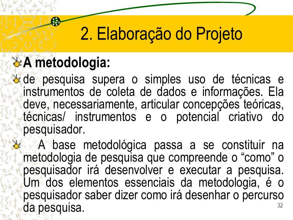 2. Elaboração do Projeto  Variáveis ou categorias –A definição de variáveis pertence, em geral, à pesquisa quantitativa; –Qualquer característica do