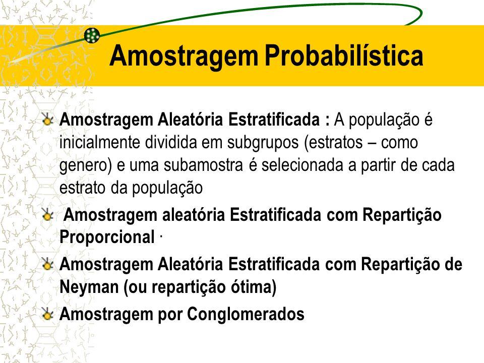Amostragem Probabilística Amostragem Aleatória Simples (AAS) Uma amostra escolhida de tal forma que cada item ou pessoa na população tem a mesma probabilidade de ser incluída.