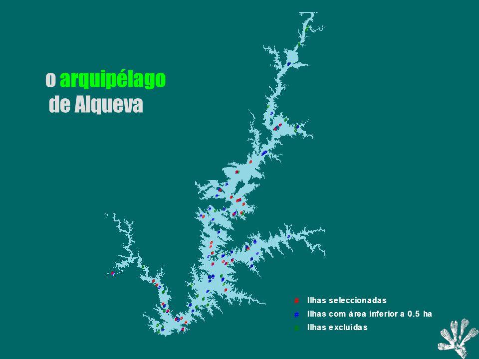 # Ilhas excluídas # Ilhas com área inferior a 0.5 ha # Ilhas seleccionadas o arquipélago de Alqueva