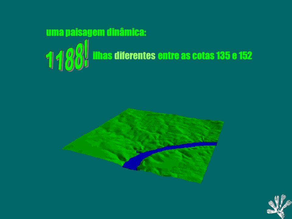 Regolfo (cota 150m) Ilhas (cota 150 m) 0510Kilometers Delimitação das Ilhas virtuais definição operacional de ilha: áreas emergentes isoladas entre 147 m e 153 m: 93 ilhas