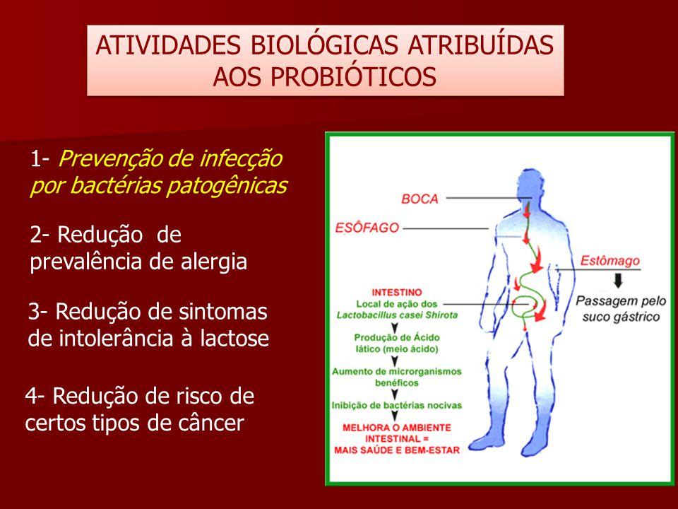 ATIVIDADES BIOLÓGICAS ATRIBUÍDAS AOS PROBIÓTICOS 1- Prevenção de infecção por bactérias patogênicas 2- Redução de prevalência de alergia 3- Redução de
