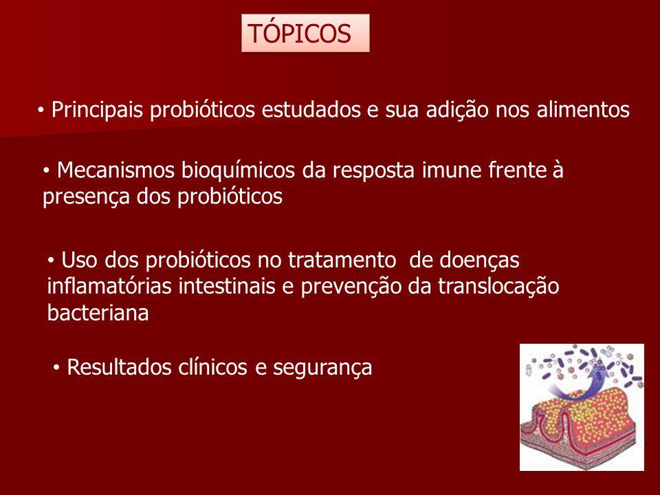 Principais probióticos estudados e sua adição nos alimentos Mecanismos bioquímicos da resposta imune frente à presença dos probióticos Uso dos probiót
