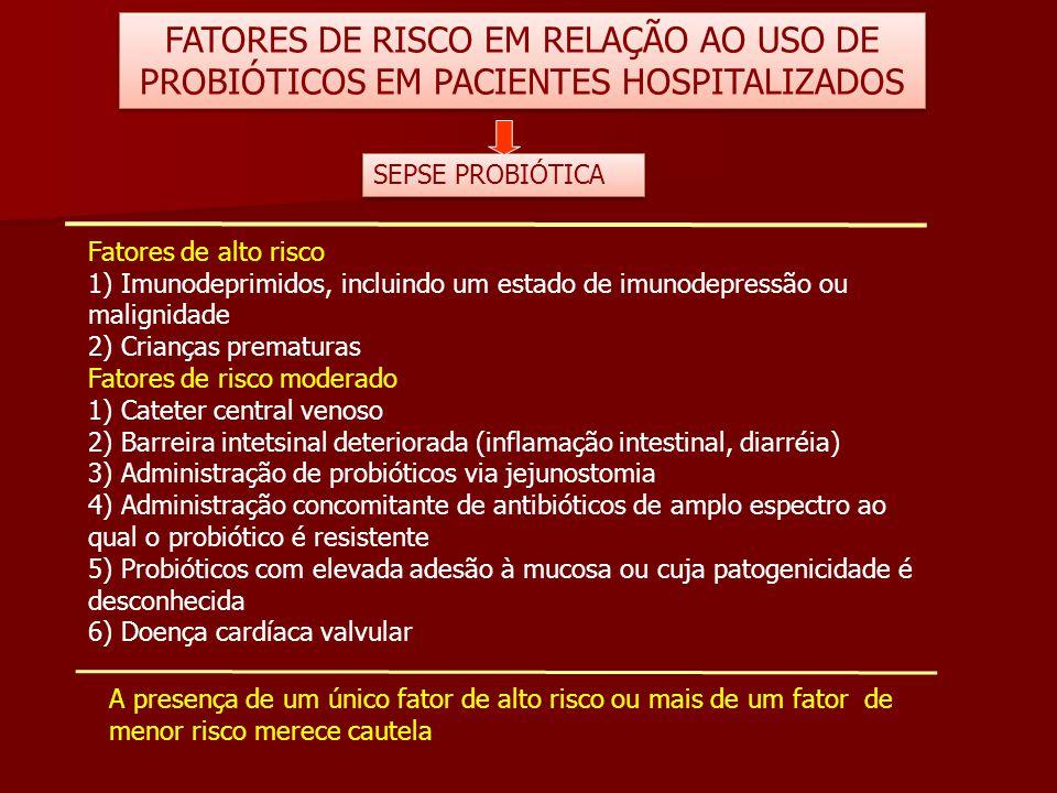 FATORES DE RISCO EM RELAÇÃO AO USO DE PROBIÓTICOS EM PACIENTES HOSPITALIZADOS Fatores de alto risco 1) Imunodeprimidos, incluindo um estado de imunode