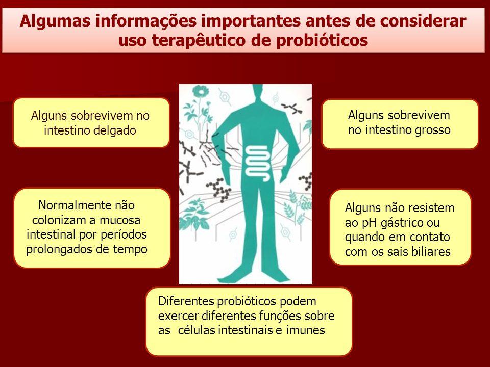 Algumas informações importantes antes de considerar uso terapêutico de probióticos Alguns sobrevivem no intestino grosso Alguns não resistem ao pH gás
