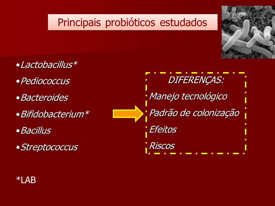 Principais probióticos estudados Lactobacillus*Lactobacillus* PediococcusPediococcus BacteroidesBacteroides Bifidobacterium*Bifidobacterium* BacillusB
