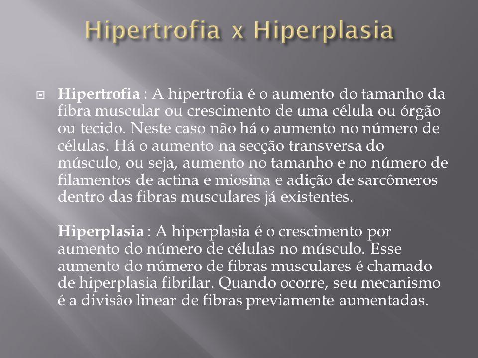  Hipertrofia : A hipertrofia é o aumento do tamanho da fibra muscular ou crescimento de uma célula ou órgão ou tecido. Neste caso não há o aumento no