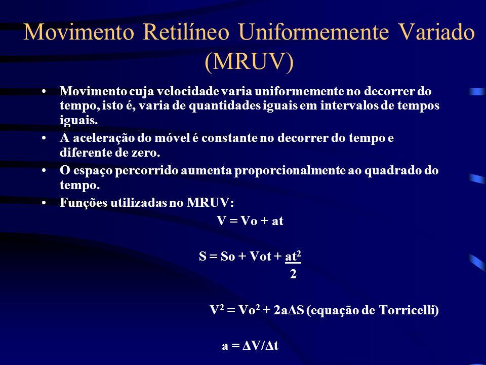 Movimento Retilíneo Uniformemente Variado (MRUV) Movimento cuja velocidade varia uniformemente no decorrer do tempo, isto é, varia de quantidades igua