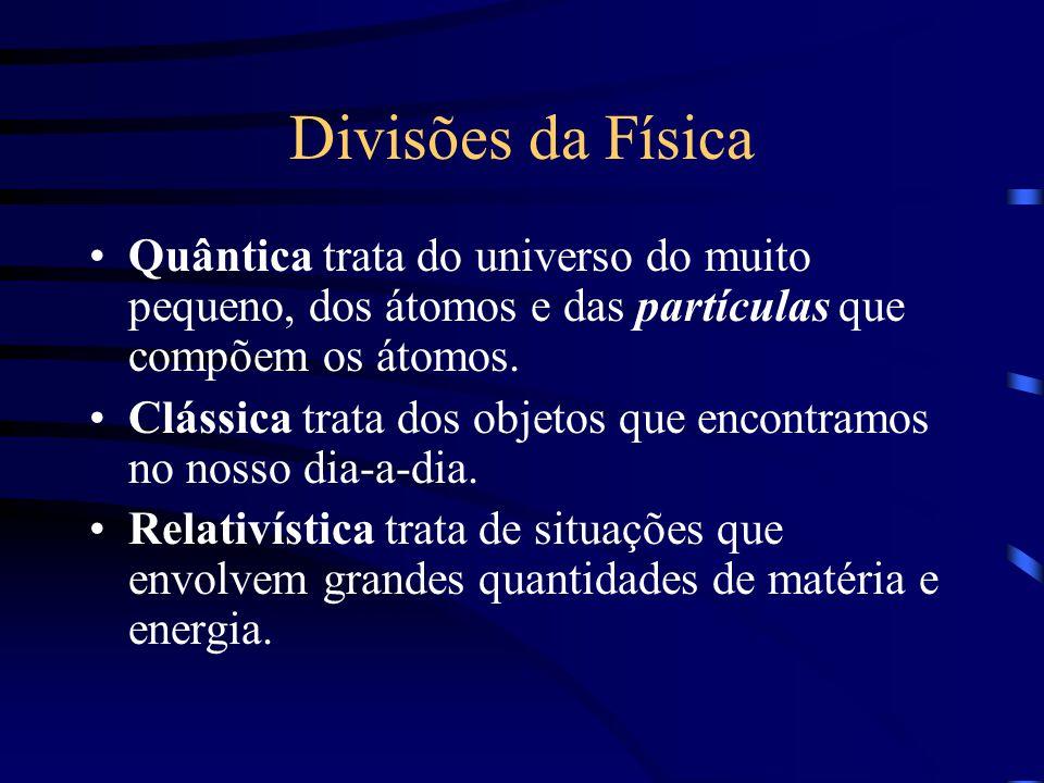 Divisões da Física Quântica trata do universo do muito pequeno, dos átomos e das partículas que compõem os átomos. Clássica trata dos objetos que enco