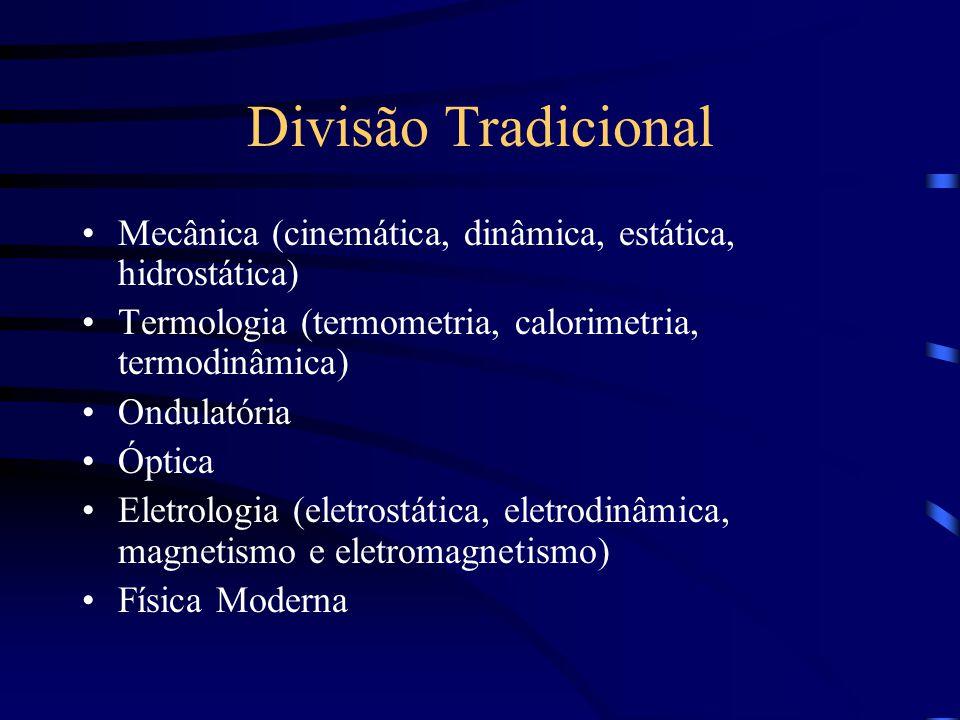 Divisão Tradicional Mecânica (cinemática, dinâmica, estática, hidrostática) Termologia (termometria, calorimetria, termodinâmica) Ondulatória Óptica E