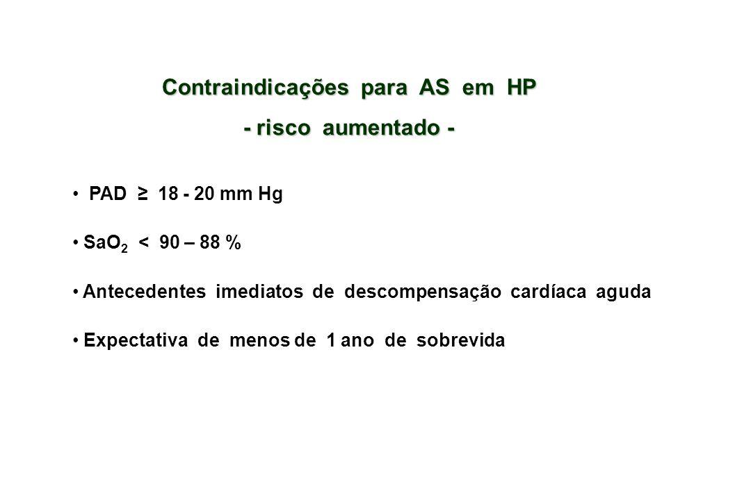 Contraindicações para AS em HP - risco aumentado - PAD ≥ 18 - 20 mm Hg SaO 2 < 90 – 88 % Antecedentes imediatos de descompensação cardíaca aguda Expectativa de menos de 1 ano de sobrevida