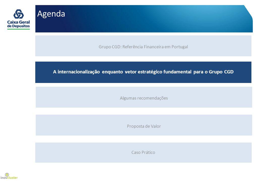 Grupo financeiro português com a maior plataforma internacional: 23 países, 4 continentes AMÉRICA : EUA CANADÁ ILHAS CAYMAN BRASIL MÉXICO VENEZUELA ÁFRICA : ANGOLA MOÇAMBIQUE CABO VERDE SÃO TOMÉ E PRÍNCIPE ÁFRICA DO SUL ARGÉLIA (em constituição) EUROPA : REINO UNIDO SUÍÇA ESPANHA ALEMANHA LUXEMBURGO BÉLGICA FRANÇA ÁSIA : CHINA - MACAU CHINA - ZHUHAI e SHANGHAI ÍNDIA TIMOR-LESTE A internacionalização enquanto vetor estratégico