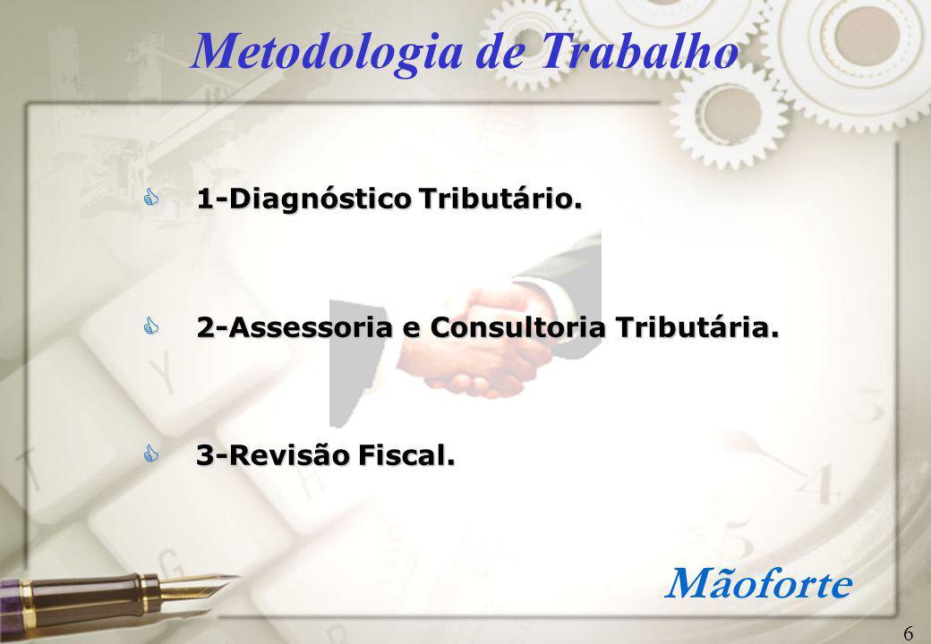 Mãoforte Metodologia de Trabalho (continuação) 1-Diagnóstico Tributário  Áreas de atuação> especificadas anteriormente.