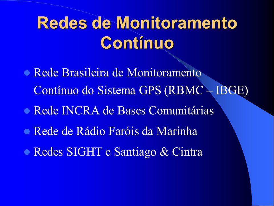 Redes de Monitoramento Contínuo Rede Brasileira de Monitoramento Contínuo do Sistema GPS (RBMC – IBGE) Rede INCRA de Bases Comunitárias Rede de Rádio